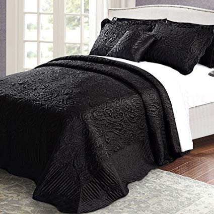 Home Soft Things Bondi Band Serenta Quilted Satin 4 Piece Bedspread Set, Queen, Black