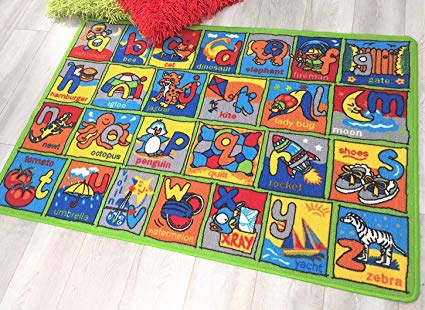 HR LEARNING ABCD NON SLIP/ GEL BACK KIDS BEDROOM / CLASSROOM AREA RUG CARPET (8 FT X 11 FT)
