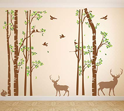 Nursery Birch Tree Wall Decal Forest with Birds and Deer Vinyl Sticker Removable JGD (96