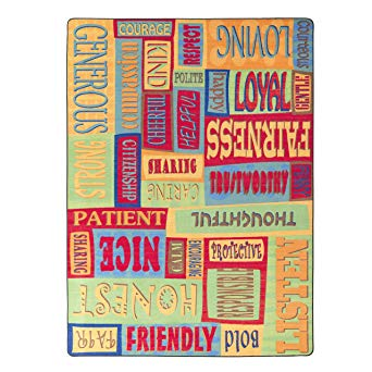 Flagship Carpets FE268-22A Be A Good Friend Rug, A Collage of Feelings and Good Gestures, Children's Classroom Educational Carpet, 4' x 6', 48